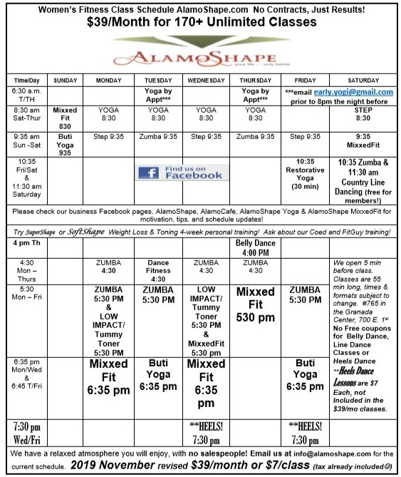 2019 November revised AlamoShape class schedule