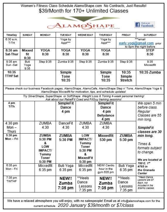 2020 January AlamoShape class schedule